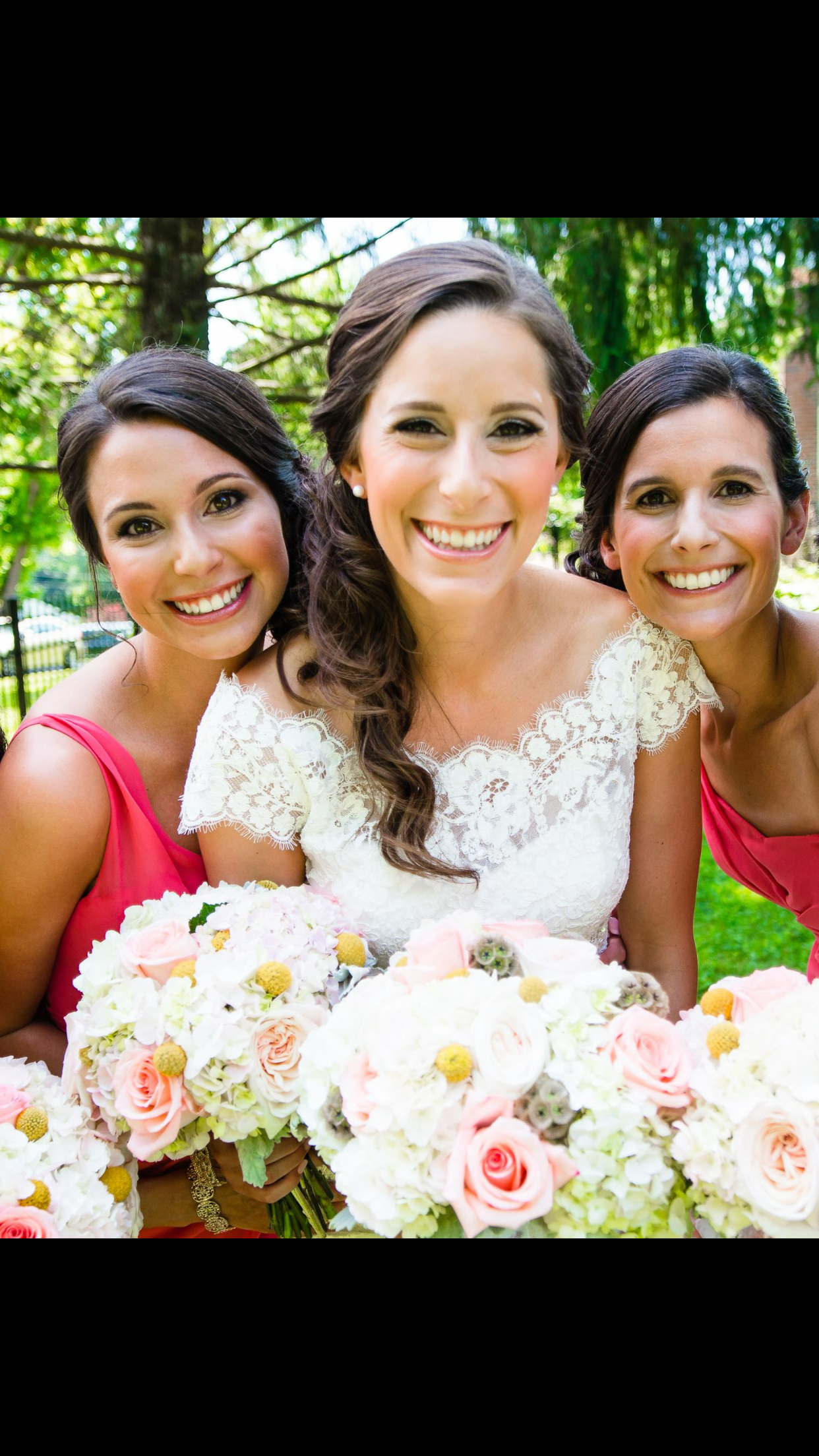 Bride and bridesmaids in red