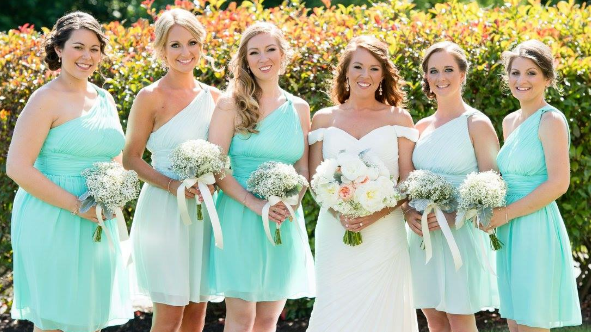 Bride and bridesmaids aqua dress