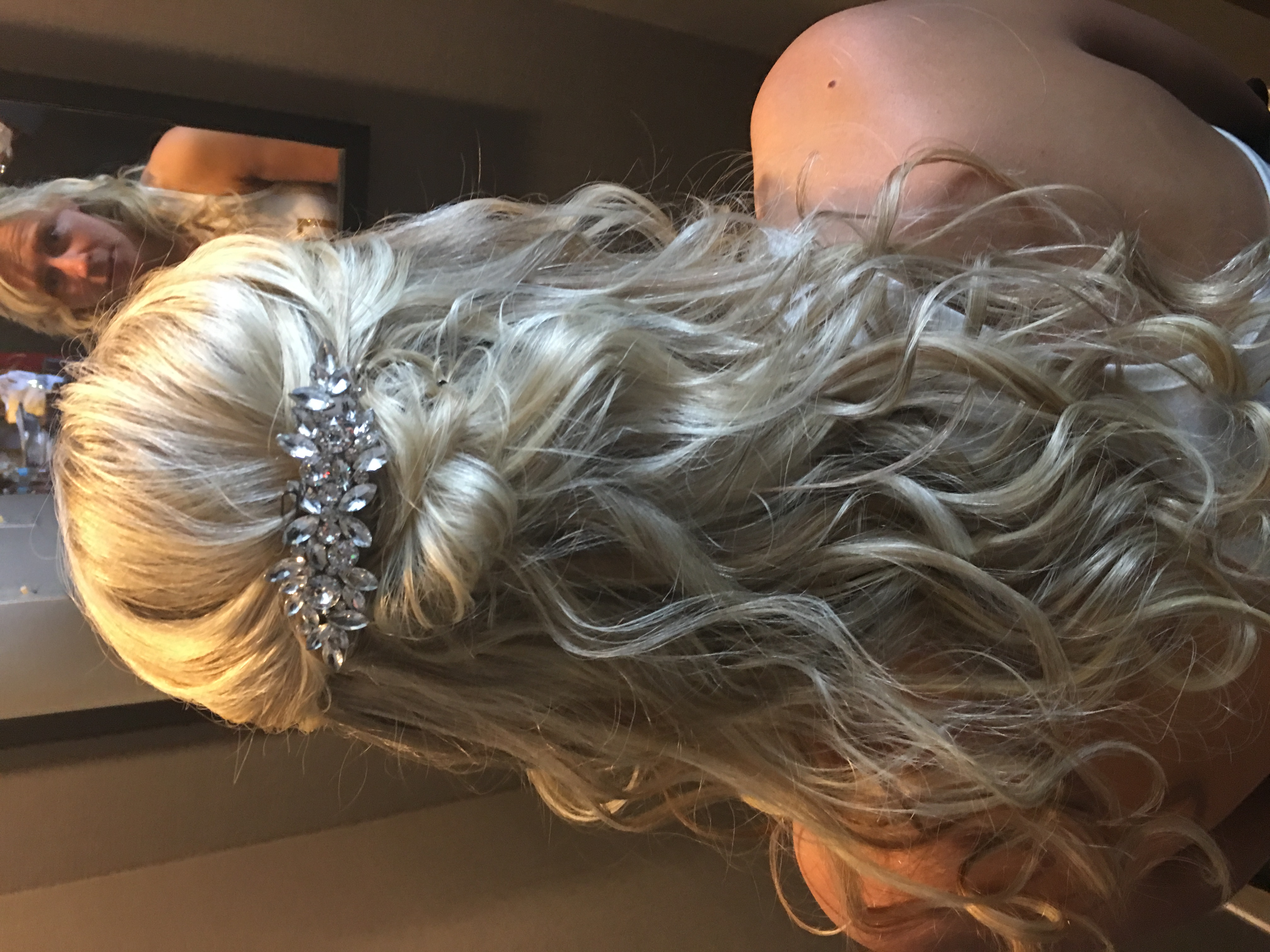 Bride's long blonde hair