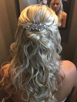Bride's long blonde hair