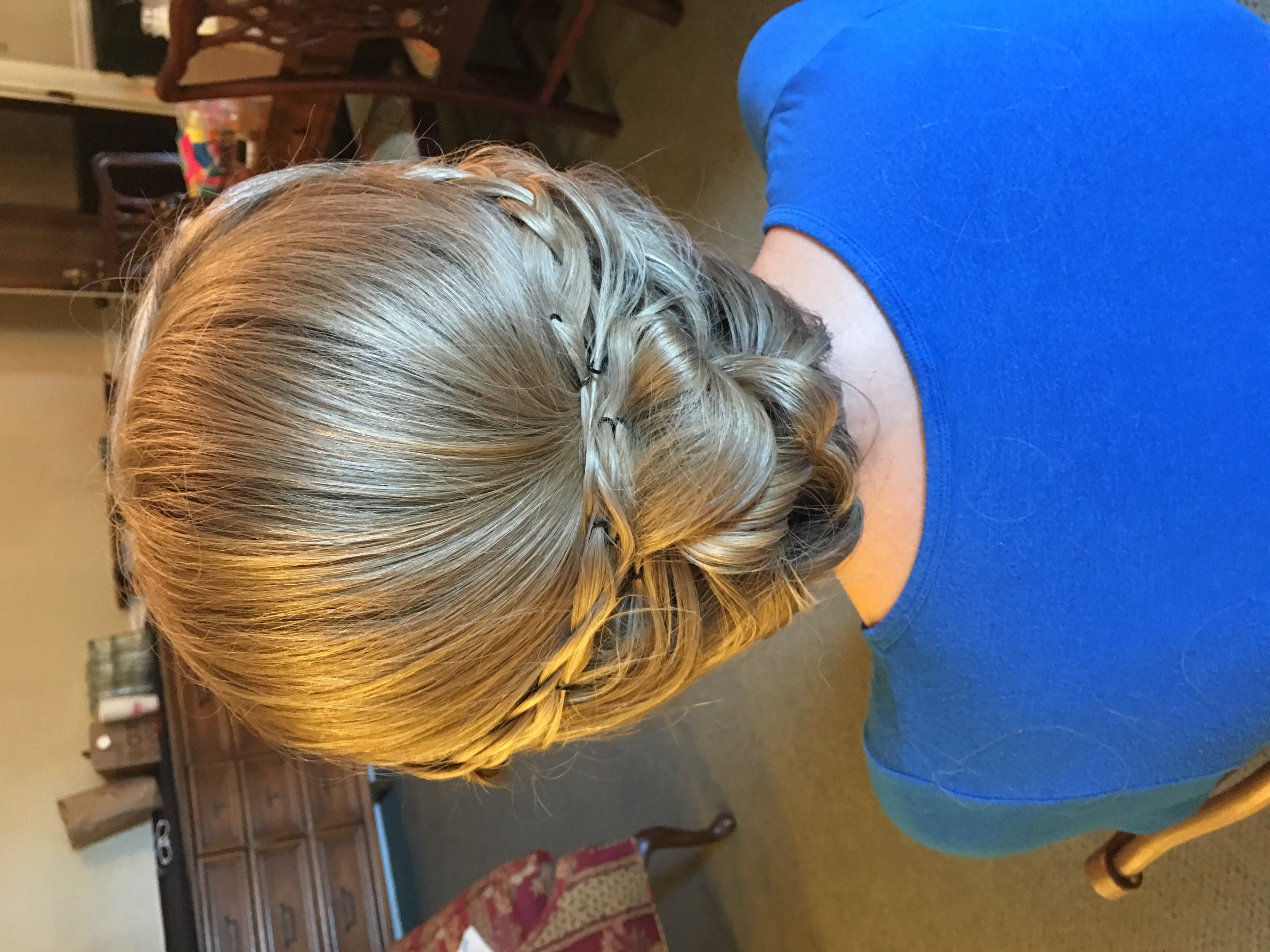 Bride's braided wedding up-do
