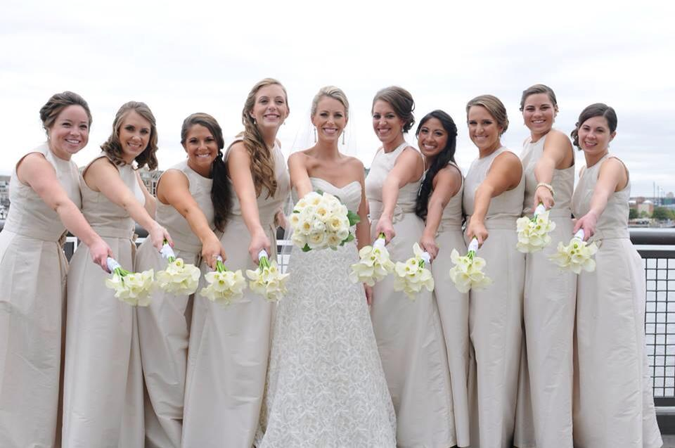 Bridal party in white