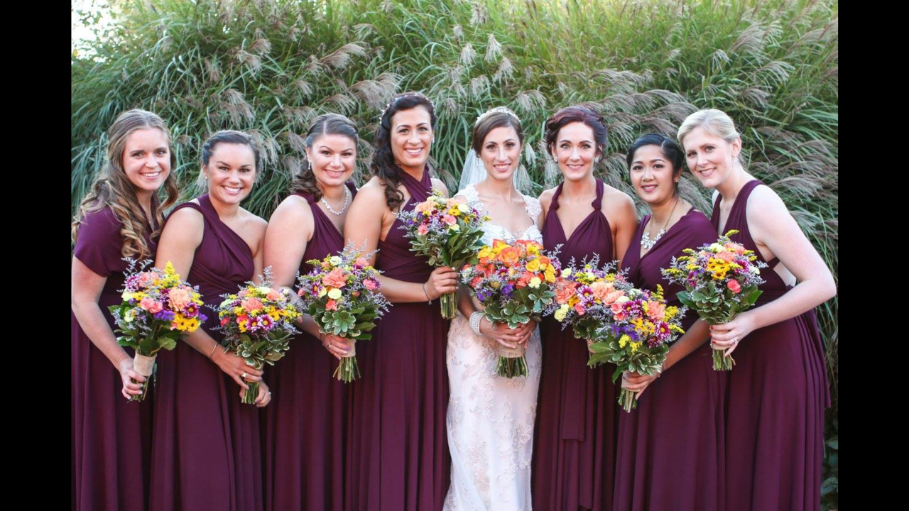 Wedding party in dark red