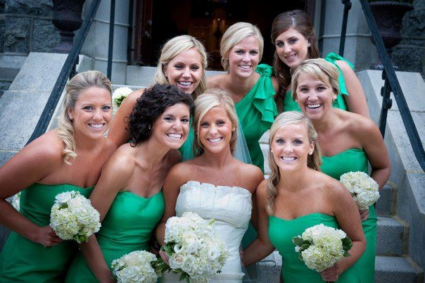 Bridal party in green dresses
