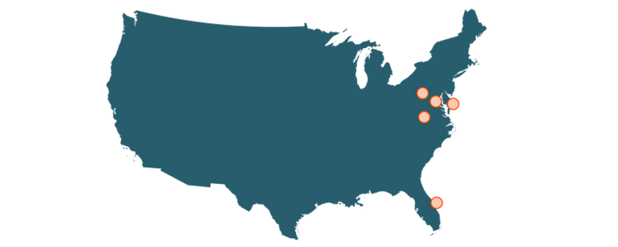 US Map, Mardi Mack service locations