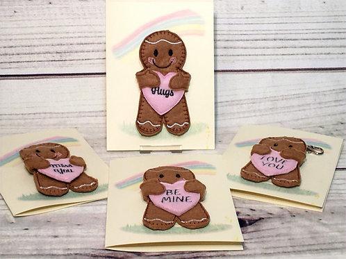 Ginger hug keyring card (various designs available)
