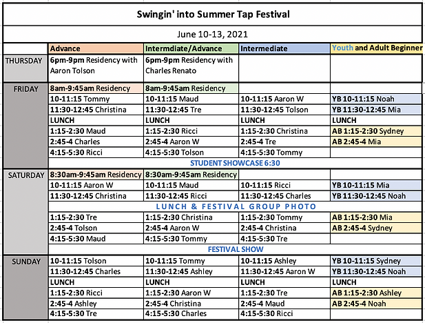 Swingin' into Summer 2021 Tap Fest Sched
