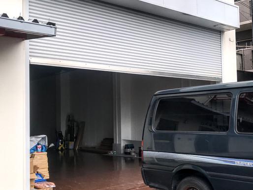 倉庫の出入り口にフロントサッシ設置