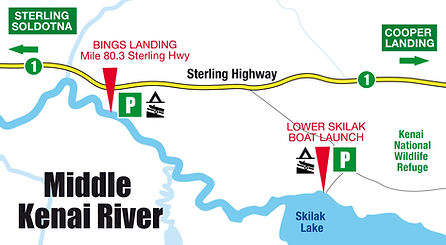 Boatman's Middle Kenai River Boat Launch Map