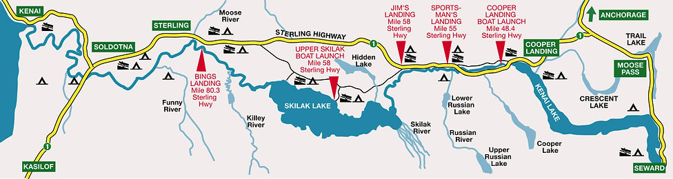 Boatman's Alaska Kenai River Boat Launch Map