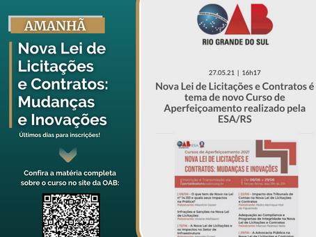 Últimos dias de inscrições para o curso 'Nova Lei de Licitações e Contratos: Mudanças e Inovações'
