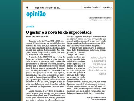 Artigo: O gestor e a nova lei de improbidade