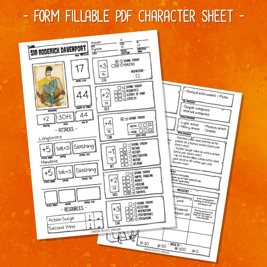 DMW Essentials Kit - Character Sheet