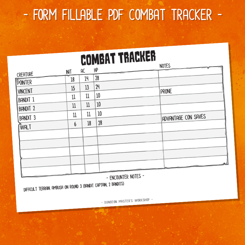 DMW Essentials Kit - Combat Tracker