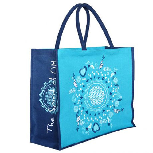 sac en jute avec la fleur de vie