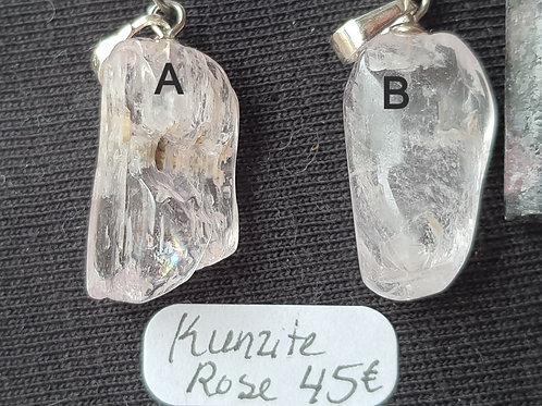 Choix entre 2 Pendentifs Kunzite Rose
