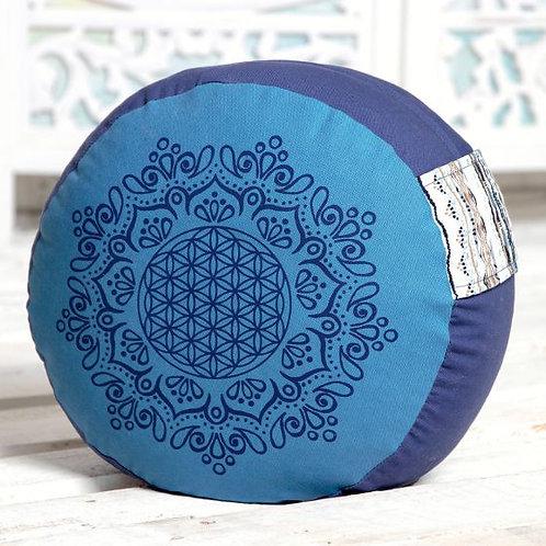 coussin de méditation bleu