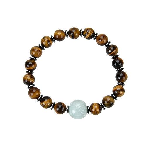 Bracelet Oeil de Tigre, Hématite et Jade