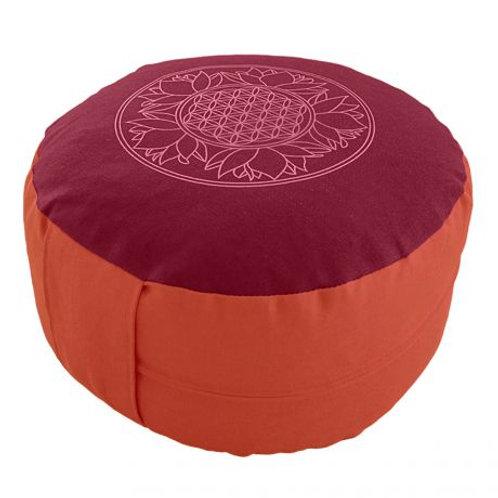 coussin de méditation rouge orange