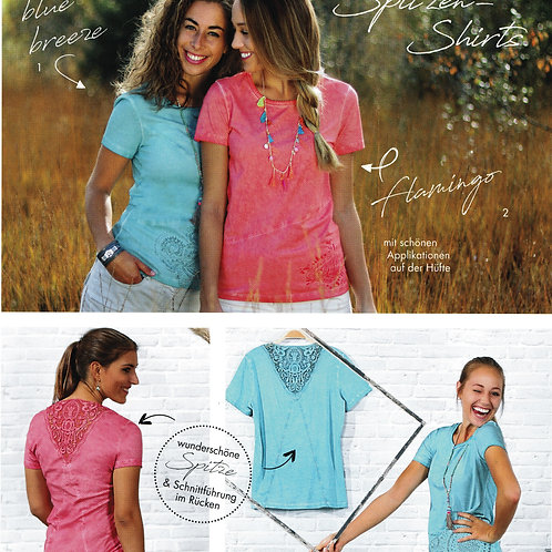 t-shirt dentelle flamingo ou bleu