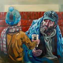 Brad Kenny 'Altruism', 2017 - oil on canvas -100cm x 100cm