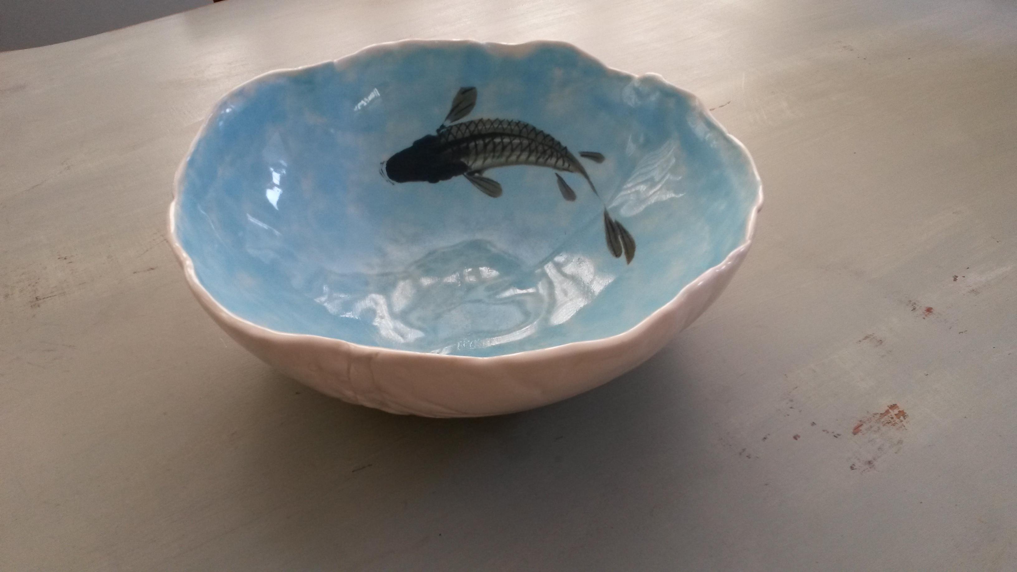 JanetBrotchieLarge creased porcelain goldfish bowl