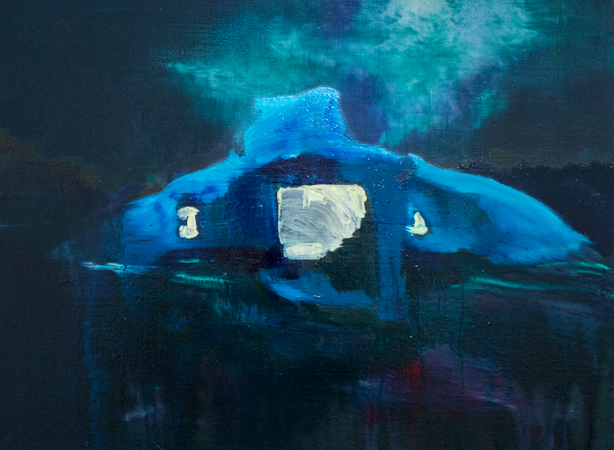 PS1410 Modern Blue Cave II, 30 x 40 cm, oil on canvas ASC