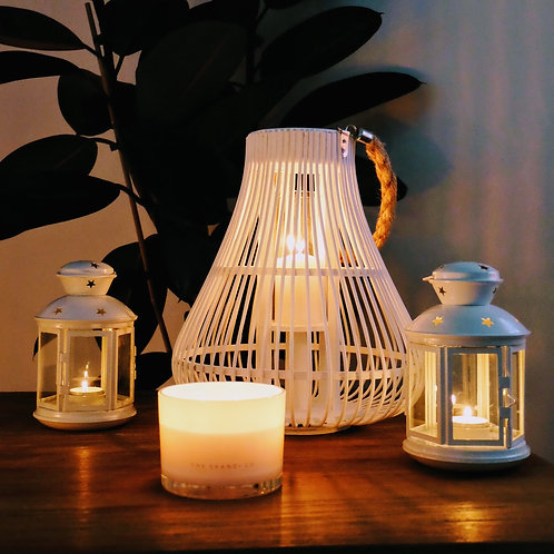 White Cane Wicker Lantern
