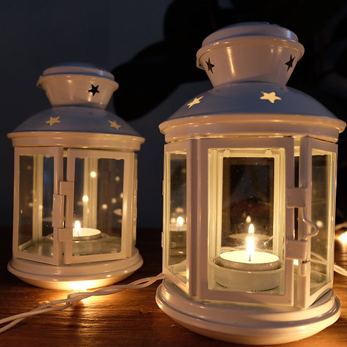Starry Night Hygge Lantern - White