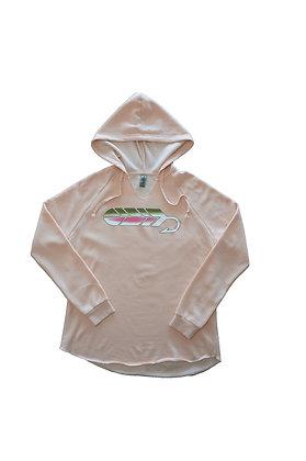 Womens Pink Rainbow Streamer Hoodie