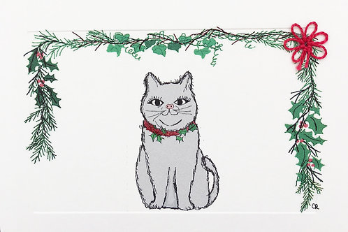 HY085 - GREY CAT CHRISTMAS