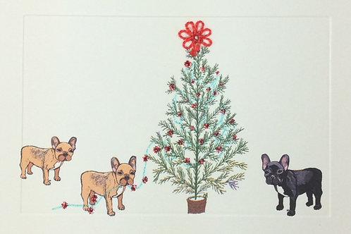 HY108 - 3 FRENCH BULLDOGS & TREE
