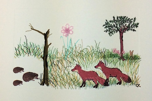 AN033 - FOXES W/HEDGEHOGS