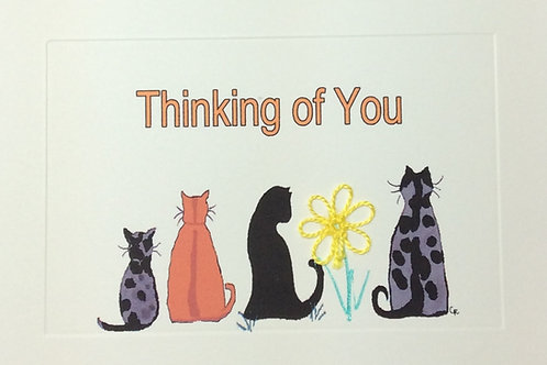 GR089 - 4 CATS THINKING OF YOU