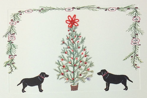 HY107 - 2 BLACK LABS & TREE