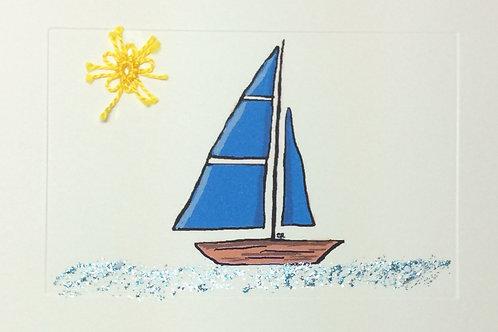 MS017B - BLUE SAIL BOAT