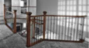 Wood rail, post, and metal spindles