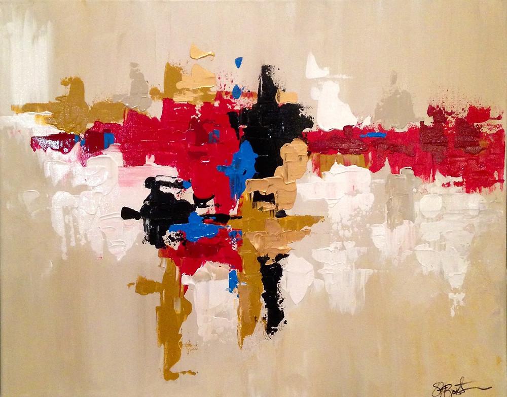 "Below: Intentional Marks 16""x20"" acrylic on canvas by: Stephanie Bostock"
