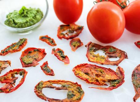 Oven Baked Pesto Tomato Chips (GF/V/SF)