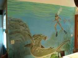 Dining room shark mural