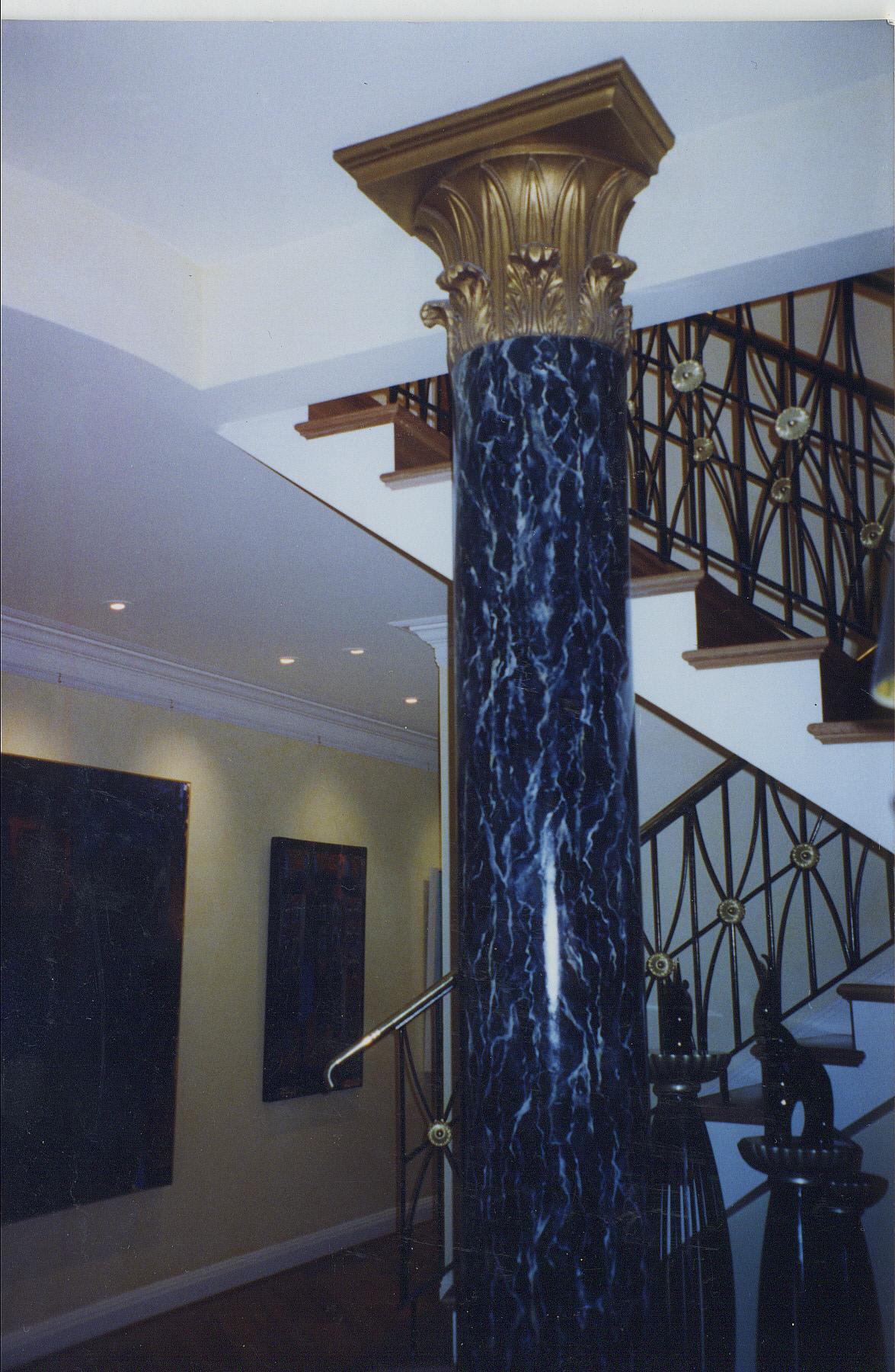 black marble column