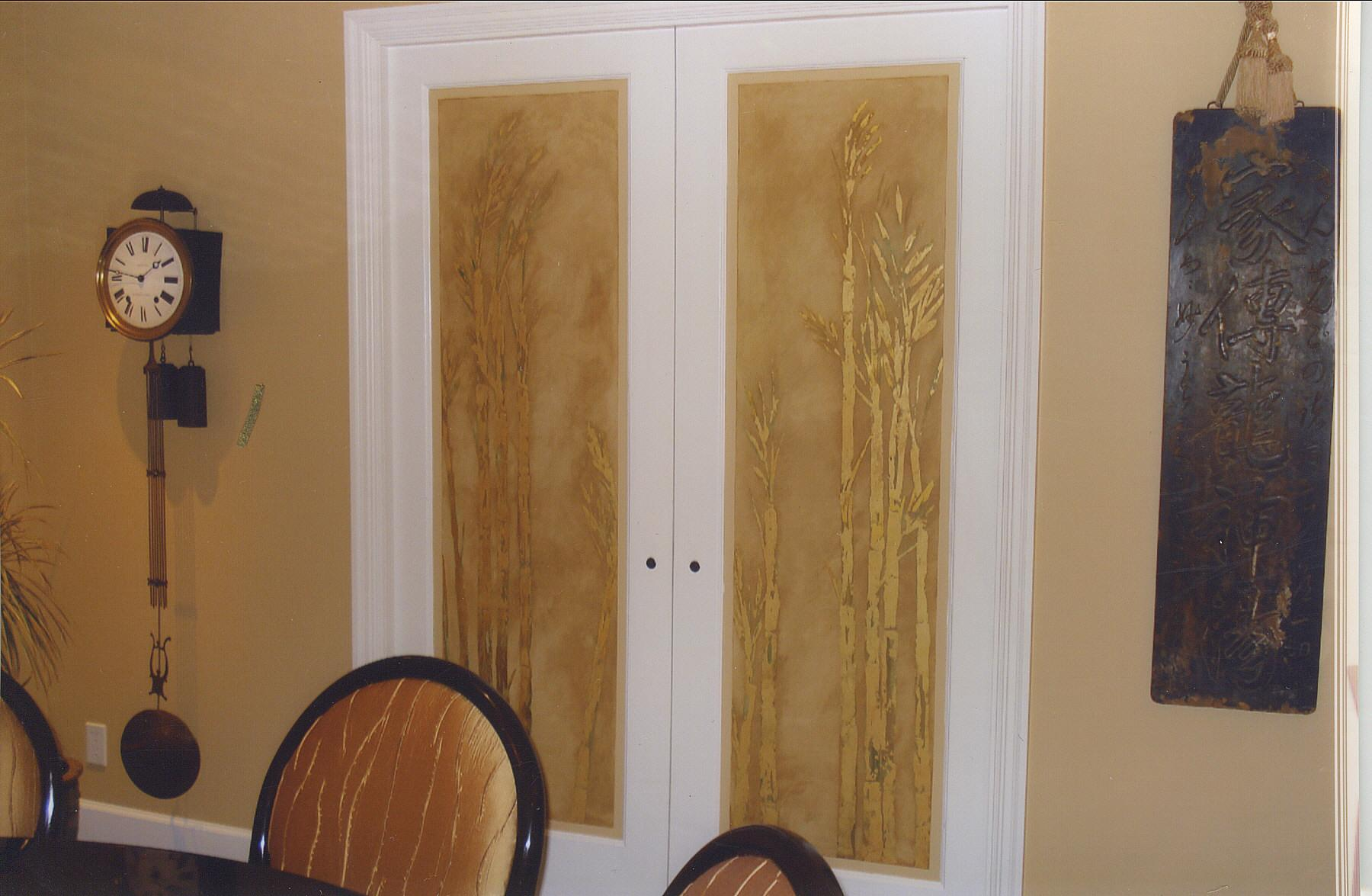 gold leaf bamboo panels