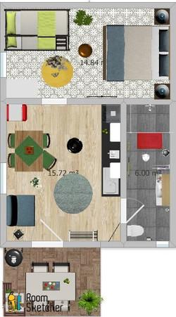 Appartement mit 1 Schlafzimmer und Terrasse
