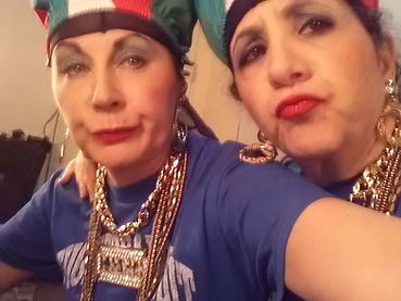 Patty and Patty rapping backstage at The Holiday Hop. Patty and Patty the hit comedy web series about two middle aged Italian American Broads living in Hell's Kitchen NYC.  Where ya gonna go? Whatya gonna do? Over 3M viewers on Facebook.