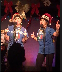 Patty and Patty Rappin' at the Holiday Hop. Patty and Patty the hit comedy web series about two middle aged Italian American Broads living in Hell's Kitchen NYC.  Where ya gonna go? Whatya gonna do? Over 3M viewers on Facebook.