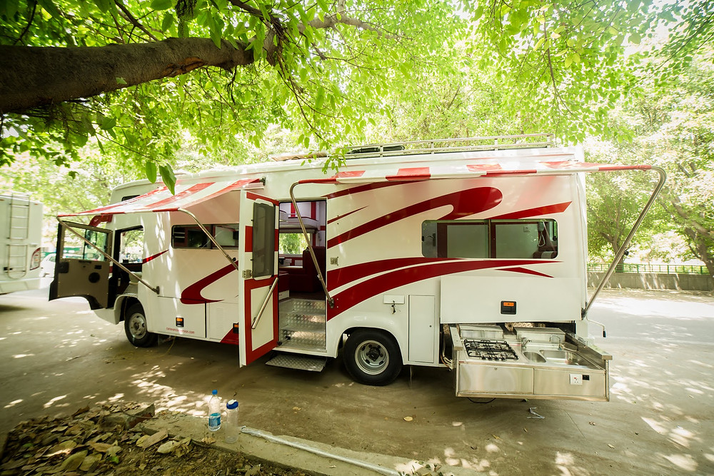 a motorhome or caravan in India with kitchen