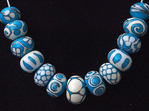 Turquoise Fancy-Lampwork Glass Beads