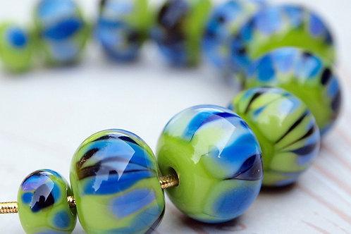 Watercolors-Lampwork Glass Beads