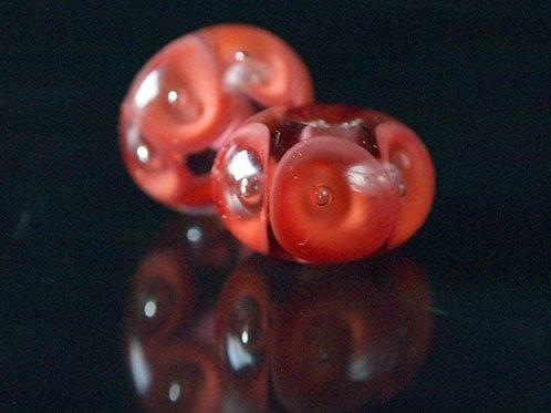 Coral Pools- lampwork bead pair