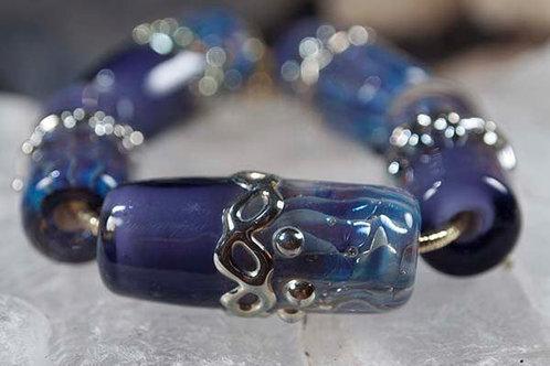 Purple Gentle Water -Lampwork Glass Bead Set